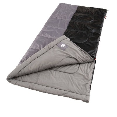 Coleman Biscayne Big and Tall Warm Weather Adult 40 Degrees Fahrenheit Sleeping Bag - Gray/Black