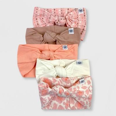 Honest Baby Girls' 5pk Organic Cotton Knotted Headband Set - Pink
