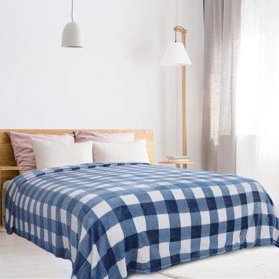 1 Pc Queen Microfiber Plush Flannel Bed Blankets Blue and White  - PiccoCasa