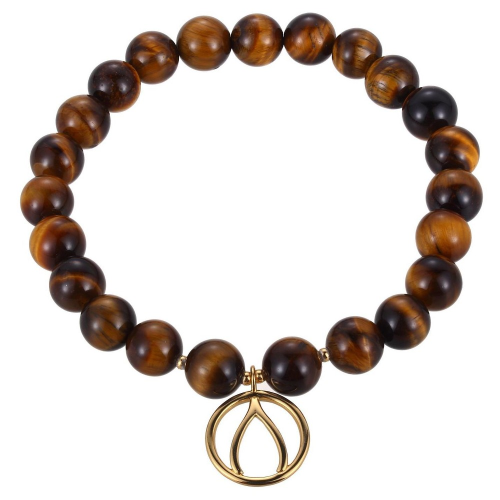 Genuine Tiger Eye and 18k Gold Over Silver Plated Bronze Wishbone Charm Beaded Stretch Bracelet - 6.5, Girl's