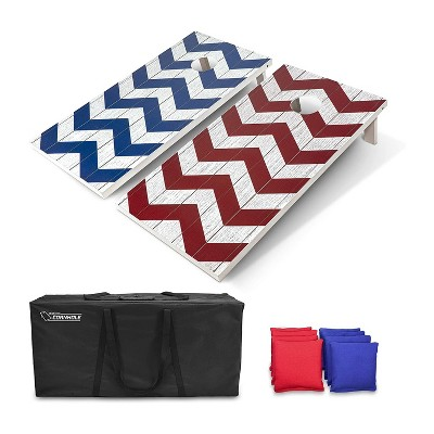 GoSports Regulation Size Outdoor Game Wood Cornhole Set with 2 4 Foot x 2 Foot Boards, 8 Bean Bags, Carrying Case, and Game Rules, Red/Blue/Chevron