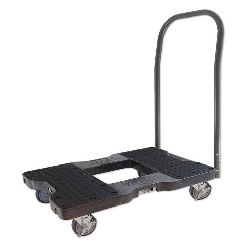 Snap Loc 1,500 lb Capacity Industrial Strength E Track Push Cart Dolly Black, Heavy Duty 4 in Polyurethane Swivel Non Marking Caster Wheels - image 1 of 4