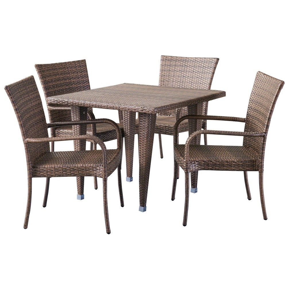 Delani 5pc Wicker Patio Dining Set - Mixed Mocha (Brown) - Christopher Knight Home