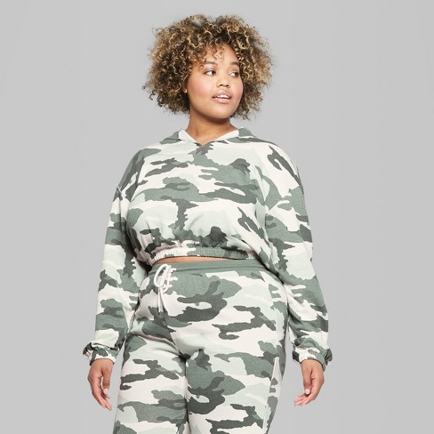 be86aa5881c Women s Plus Size Camo Print V-Neck Sweatshirt - Wild Fable™ Green   Target