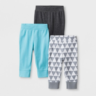 Baby Boys' 3pk Geo Bright Pants - Cloud Island™ Charcoal Heather Newborn