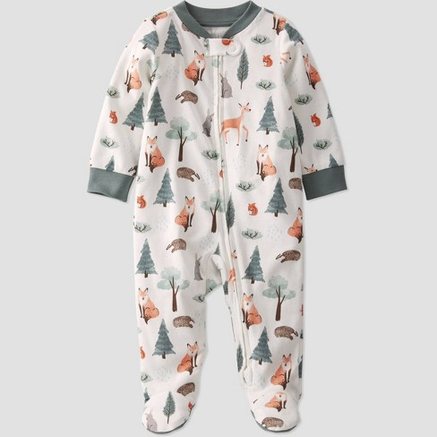 Baby Boys' Organic Cotton Sequoia Sleep N' Play - little planet by carter's Green/White - image 1 of 3