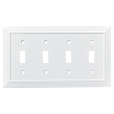 Franklin Brass Classic Architecture Quad Switch Wall Plate White