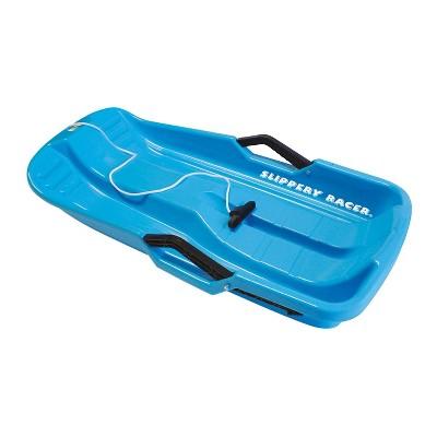 Slippery Racer Downhill Thunder Flexible Kids Toddler Plastic Toboggan Snow Sled with Built In Brake System, Blue