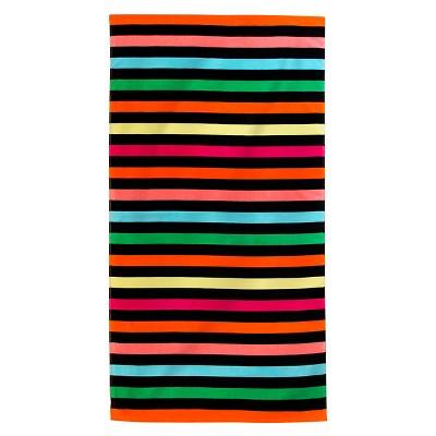 Printed Dark Stripes Beach Towel Treen/ Red - Evergreen®
