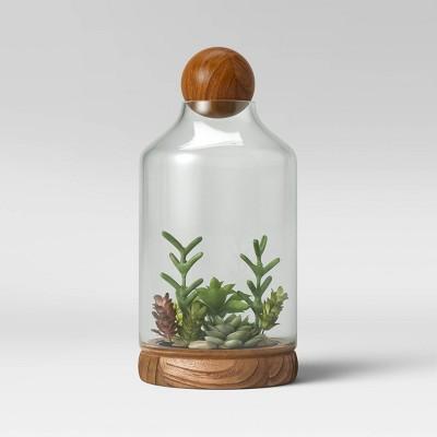 "14"" Recycled Glass/Wood Terrarium Blue - Smith & Hawken™"