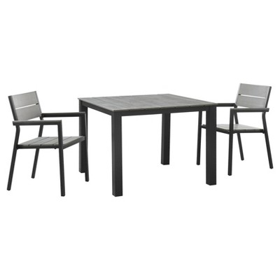 Maine 3pc Square Metal Patio Dining Set - Brown/Gray - Modway