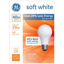 GE 40-Watt Energy Efficient Halogen Light Bulb Soft Frosted White 4pk