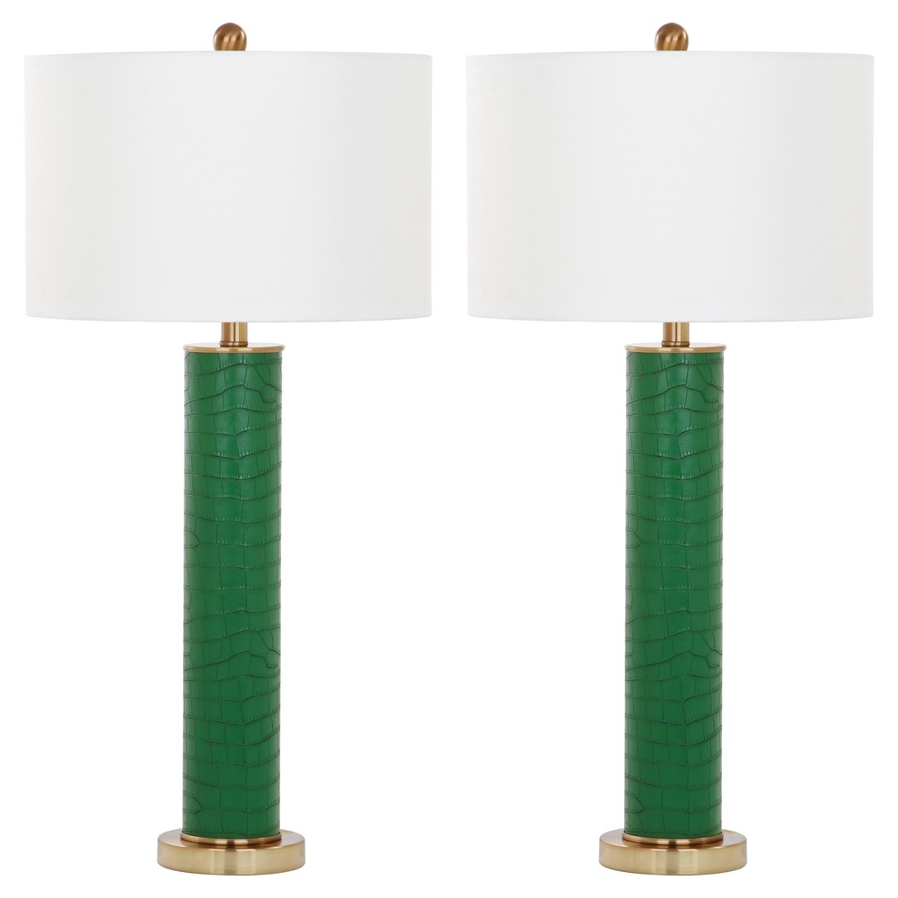 Image of Ollie Dark Green Faux Alligator Table Lamp Set of 2 - Safavieh