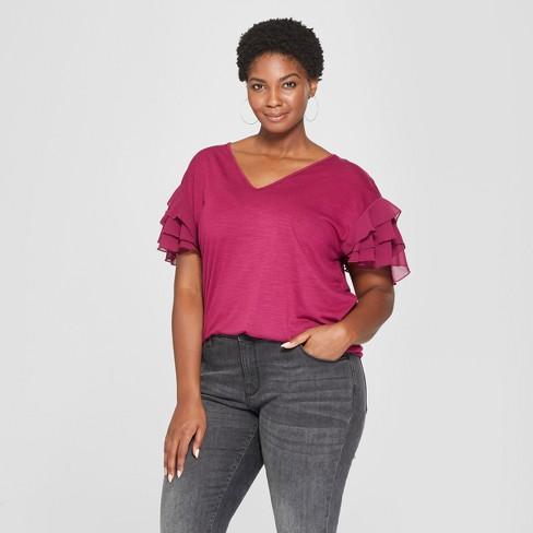 Womens Plus Size Chiffon Short Sleeve Top Ava Viv Target