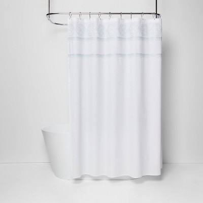 Medallion Sheer Embroidery Shower Curtain White/Aqua - Threshold™