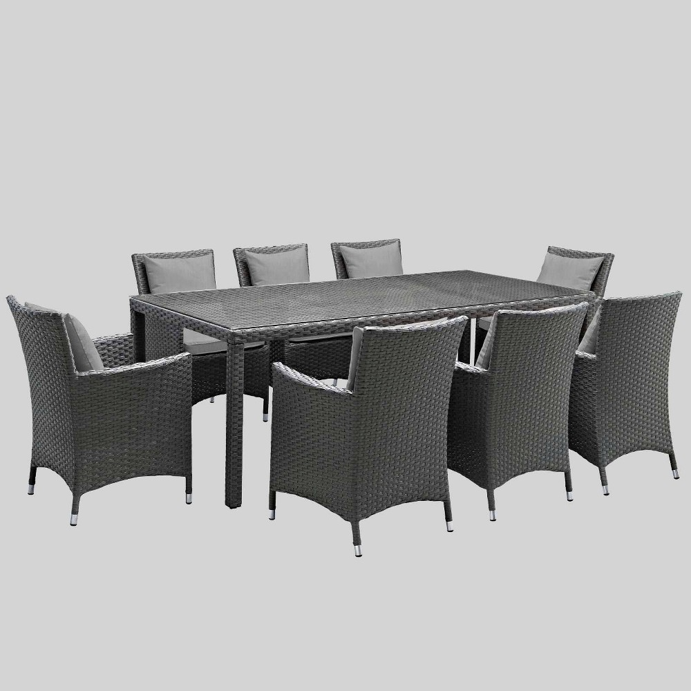 Sojourn 9pc Outdoor Dining Set with Sunbrella Fabric - Gray - Modway