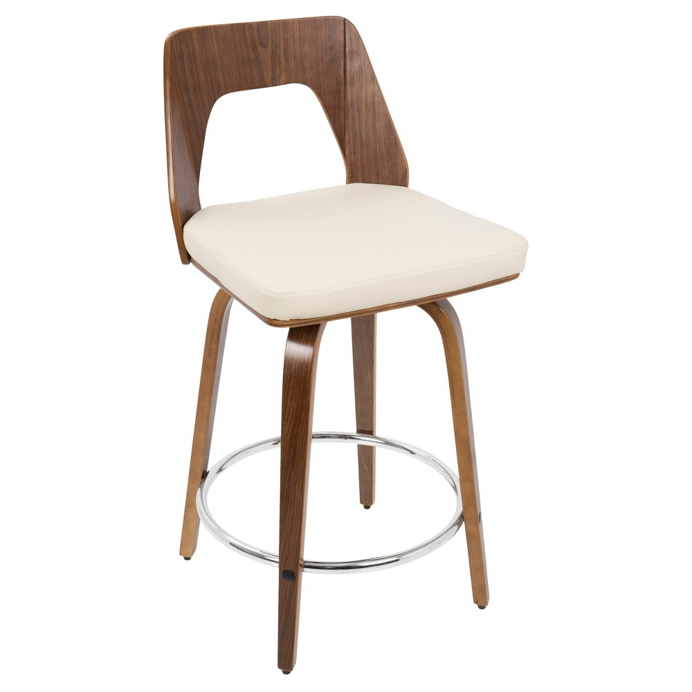 Trilogy 24 Mid - Century Modern Counter Stool - Walnut Wood And Cream (Ivory) - Lumisource