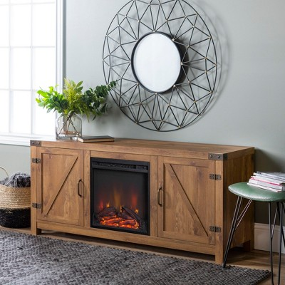 "Modern Rustic Barn Door Storage Console with Electric Fireplace TV Stand for TVs up to 65"" - Saracina Home"
