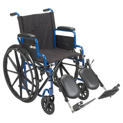 """Drive Medical Blue Streak Wheelchair with Flip Back Desk Arms, Elevating Leg Rests, 20"""" Seat"""