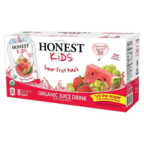 Honest Kids Super Fruit Punch Organic Juice Drinks - 8pk/6.75 fl oz Pouches - image 1 of 4