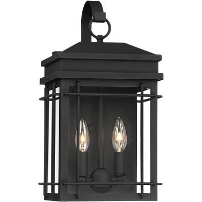 "John Timberland Outdoor Wall Light Fixture Textured Black Steel 17"" Clear Glass Lantern for Exterior House Porch Patio Deck"