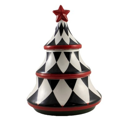 "Tabletop 10.5"" Harlequin Tree Candy Dish Christmas Decor K & K Interiors  -  Serving Bowls"