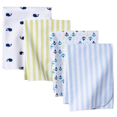 Circo™ 4pk Flannel Receiving Blankets - Whales 'n Waves