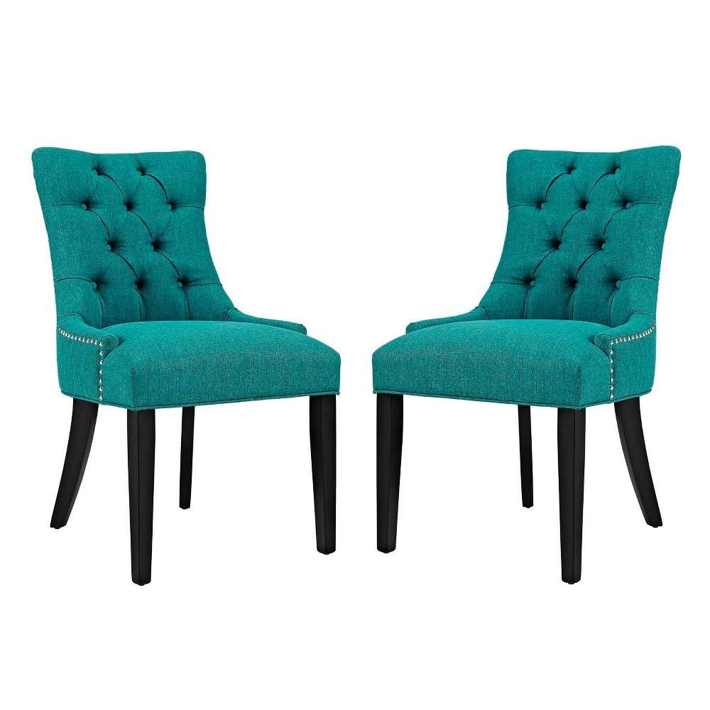 Regent Dining Side Chair Fabric Set of 2 Teal (Blue) - Modway