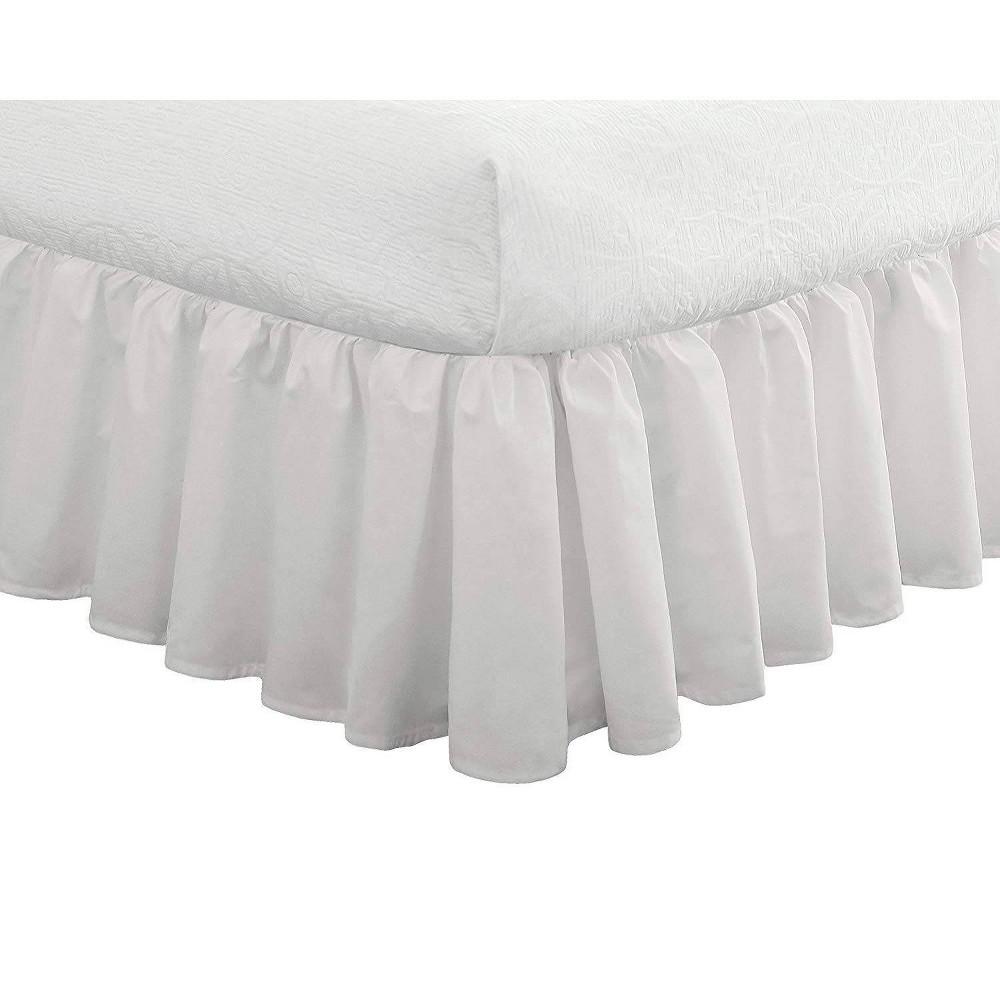 "Image of ""Queen Ruffled Bedskirt 18"""" Drop White - Fresh Ideas"""