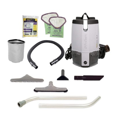 ProTeam 107363 ProVac FS 6 6 Quart Backpack Vacuum with 2 Piece Restaurant Wand Tool Kit, Various Attachments, and 50 Foot Extension Cord