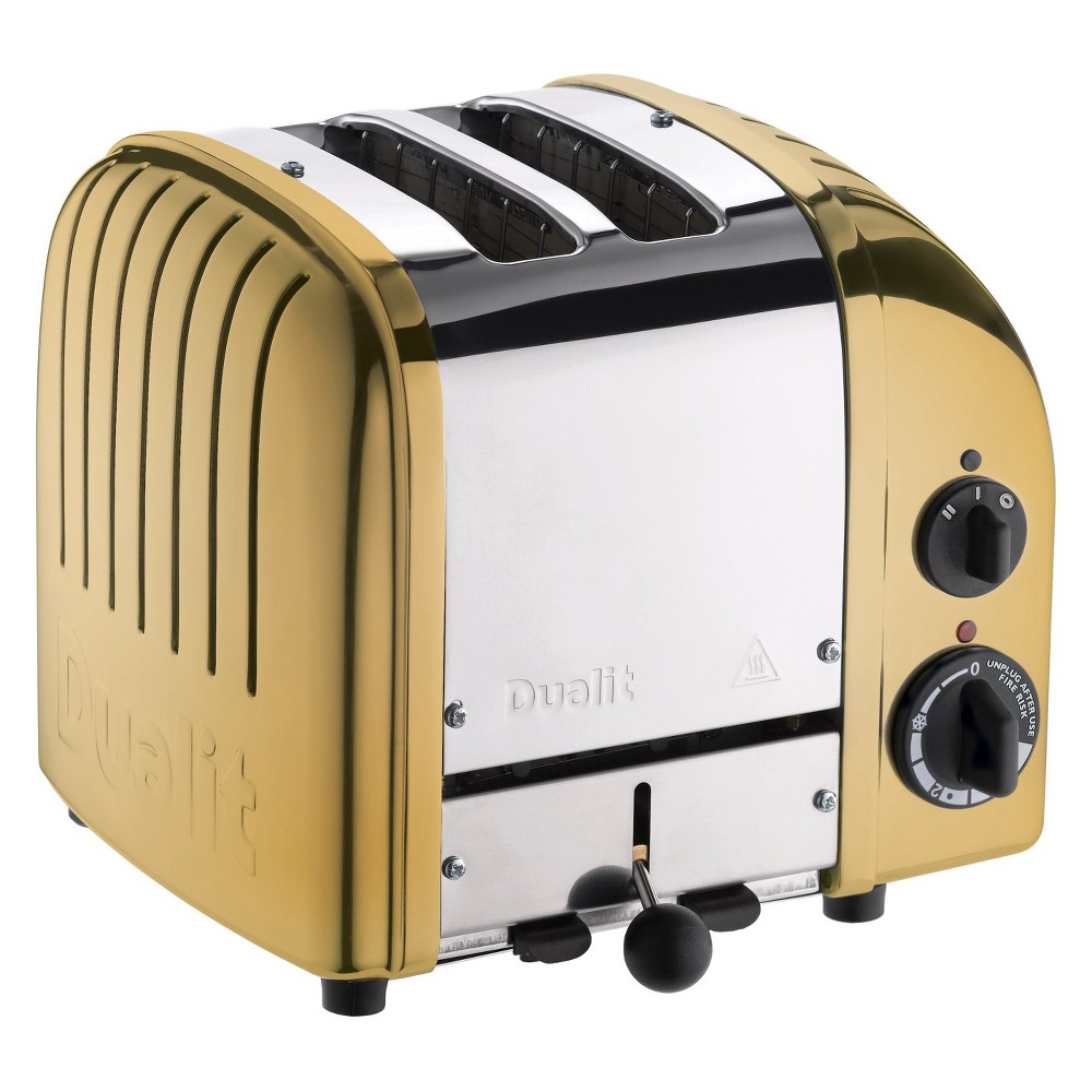 Dualit NewGen 2 Slice Toaster Brass - 27441 Bursting with retro charm, the Dualit, New Generation, Classic 2-Slice Toaster expertly complements your distinctive kitchen décor. A range of custom settings create the perfect toast each and every time. The perfect marriage of form and function, it's a must-have! Color: Brass.