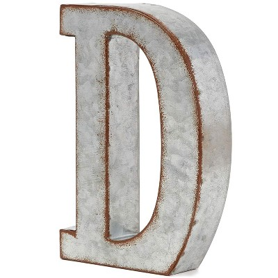8 In Rustic Letter Wall Decoration D Galvanized Metal 3D Letter for Home Birthday Wedding Events Decor