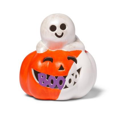 Lit Ceramic Pumpkin Large Ghost - Mondo Llama™
