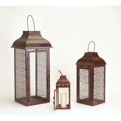 """Melrose Set of 3 Brown Modern Style Mesh Pillar Candle Holder Lanterns 21"""""""