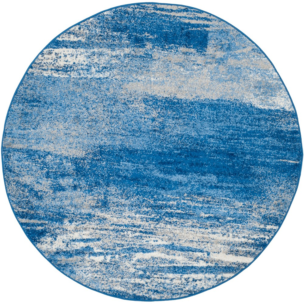 Spacedye Design Round Area Rug Silver/Blue