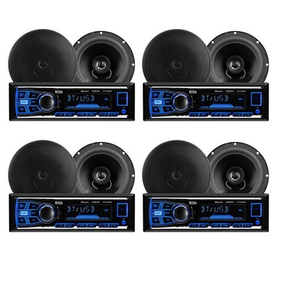 BOSS Audio Systems 638BCK Single Din Bluetooth DM Receiver Bundle Car Stereo Pack with 2 6.5-Inch Full-Range Speakers, Black (4 Pack)