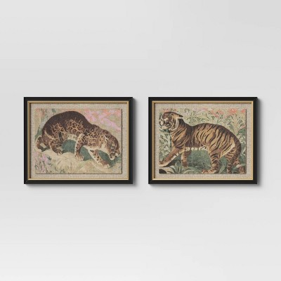 "(Set of 2) 20"" x 16"" Jungle Cats Framed Wall Canvas - Opalhouse™"