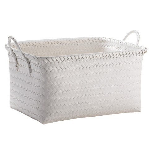 Large Woven Rectangular Storage Basket White Room Essentials