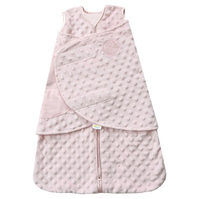 HALO® Sleepsack® Plushy Dot Velboa Swaddle - Pink - NB