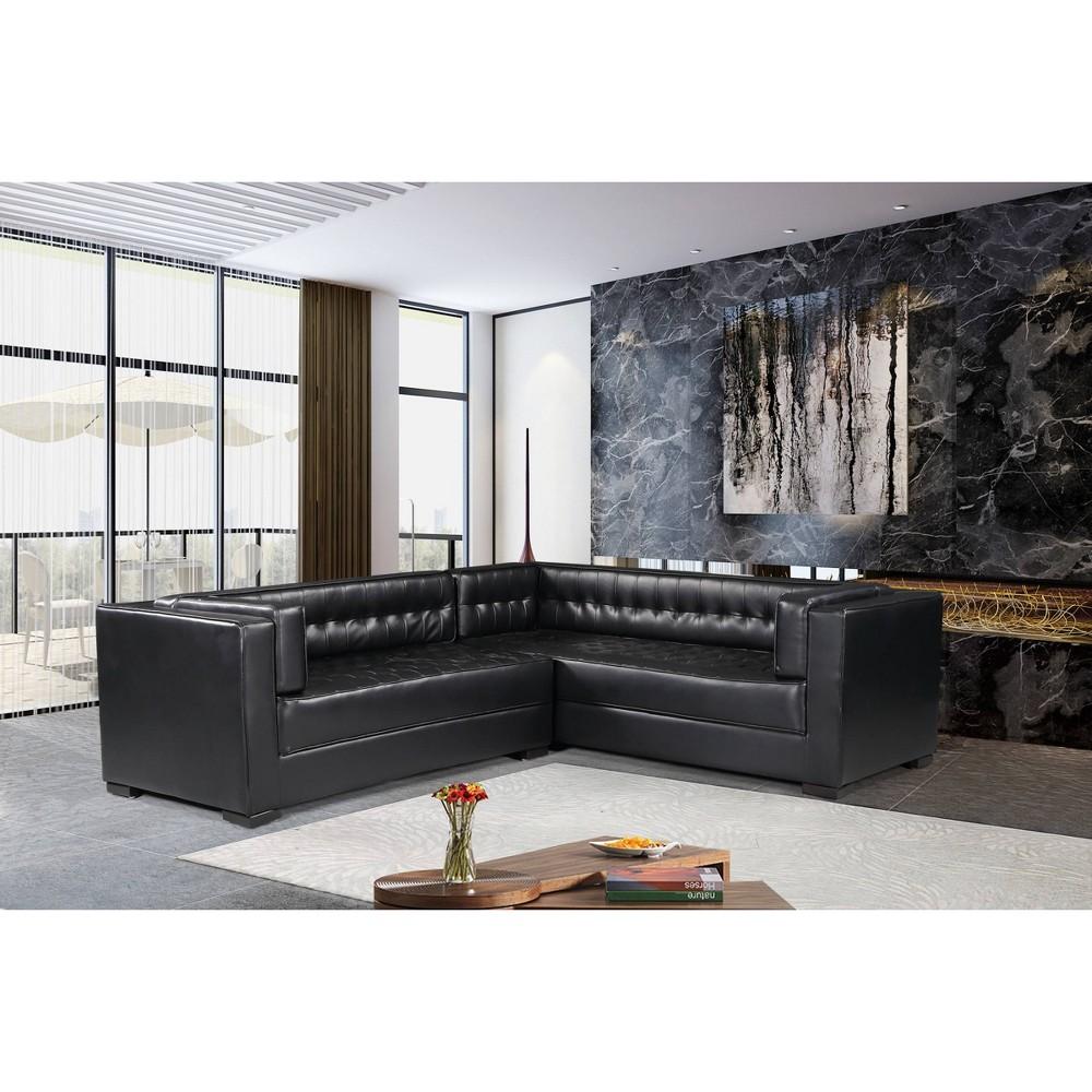 Jasper Right Facing Sectional Sofa Black Chic Home Design