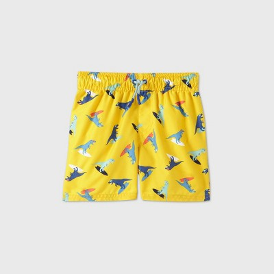 Toddler Boys' Dino Surfing Swim Trunks - Cat & Jack™ Yellow