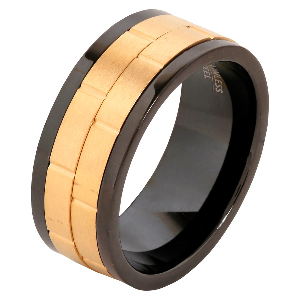 Men's West Coast Jewelry Goldtone Two-Tone Stainless Steel Dual Spinner Ring (11), Black Gold