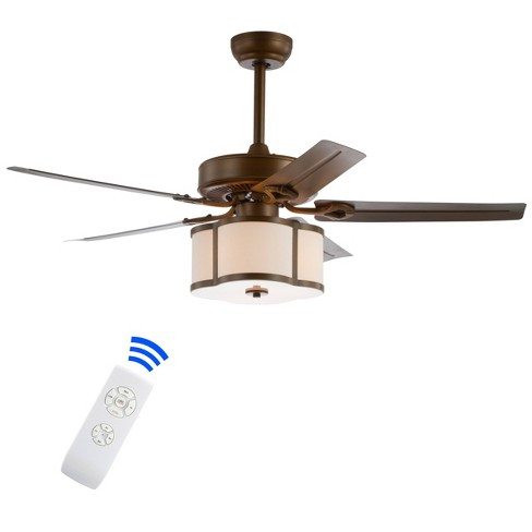 52 Led Metal Wood Ceiling Fan With Remote Satin Bronze Jonathan Y Target
