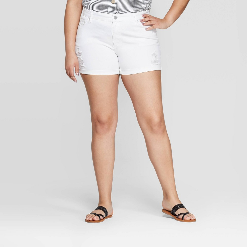 785394c1dc Womens Plus Size Destroyed Mid Rise Jean Shorts Universal Thread White 16W