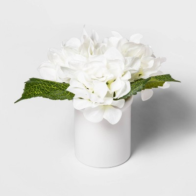 "8.5"" x 7"" Artificial Hydrangea in Ceramic Pot White - Threshold™"