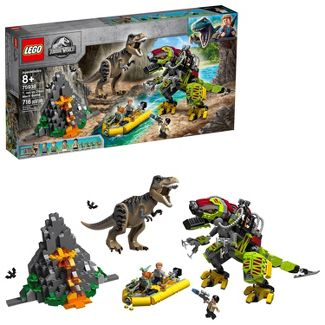 LEGO Jurassic World T. rex vs Dino-Mech Battle Toy T. Rex Figure Building Kit 75938