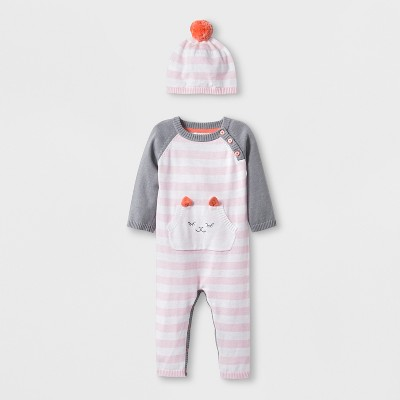 Baby Girls' Long Sleeve Llama Romper with Kanga Pocket and Embroidery - Cloud Island™ Pink Newborn