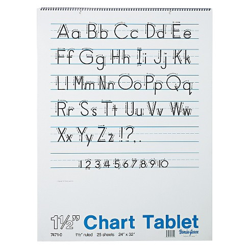 Pacon® Chart Tablets w/Manuscript Cover, Ruled, 24 x 32, White, 25 Sheets