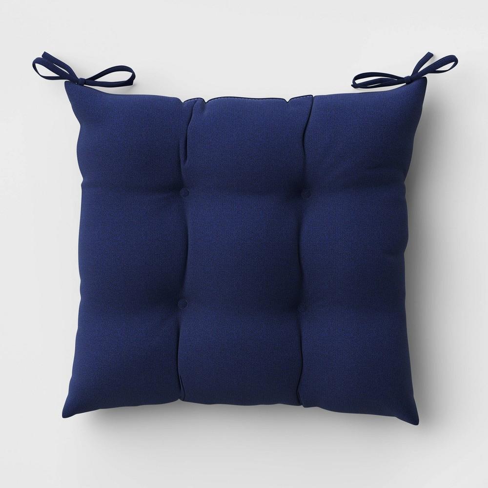 Tufted Woven Outdoor Seat Cushion Duraseason Fabric 8482 Navy Threshold 8482