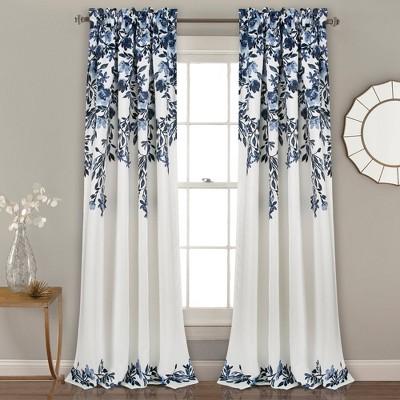 "Set of 2 (108""x52"") Tanisha Light Filtering Window Curtain Panels Navy - Lush Décor"